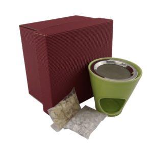 Geschenkset Räucherstövchen grün